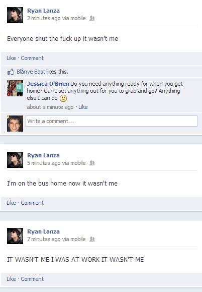 Lanza takes frustration to facebook.